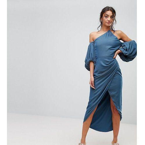 ASOS TALL One Shoulder Velvet Drape Midi Dress - Blue
