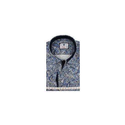 1271e9602ee376 Info · Koszula męska niebieska we wzory slim fit na długi rękaw a081 marki  Big paris
