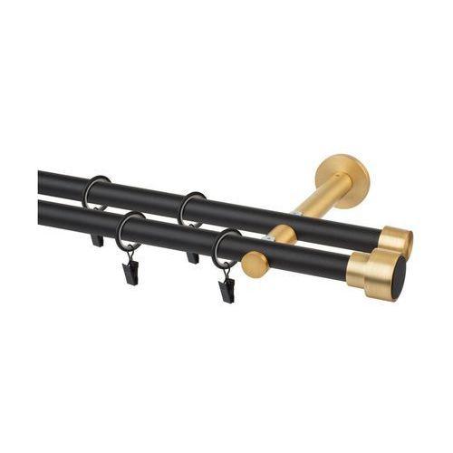 Karnisz SLICK 160 cm podwójny czarny z mosiądzem 19 mm metalowy INSPIRE (5901171248480)