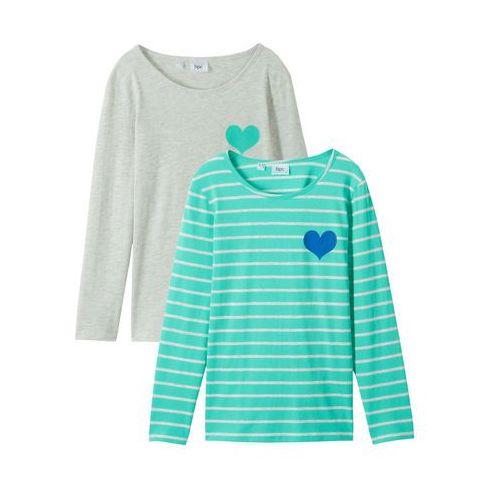 Shirt z długim rękawem (2 szt.) naturalny melanż + akwamaryna w paski marki Bonprix