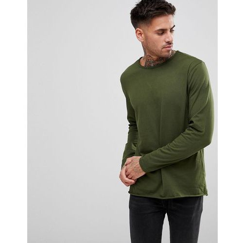 basic raw edge long sleeve top - green marki Another influence