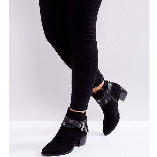 wide fit western buckle strap boot - black marki Truffle collection