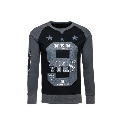 Bluza męska bez kaptura z nadrukiem antracytowa denley 2105 marki Madmext