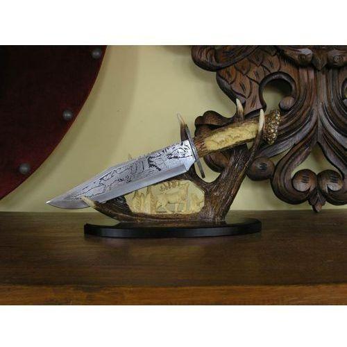 Usa Zdobiony nóż kordzik myśliwski ze stojakiem (wc-23d)