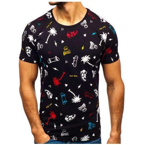 T-shirt męski z nadrukiem czarny 1150, Bolf