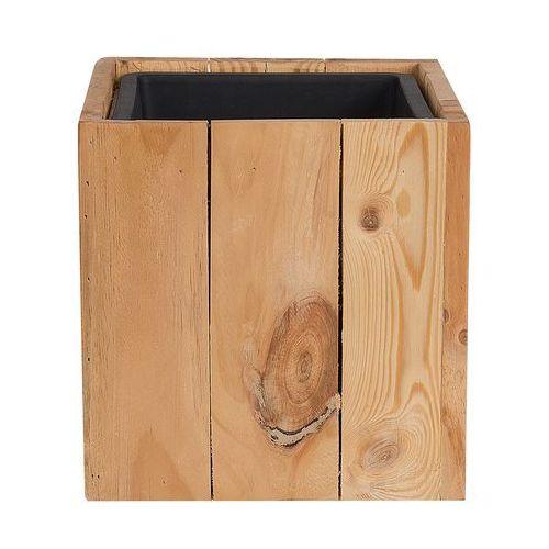 Doniczka drewniana jasny brąz kwadratowa 24 x 24 x 24 cm AKRINI (4251682214124)