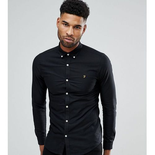 tall skinny fit button down oxford shirt in black - black, Farah