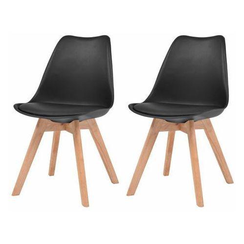 Krzesła do jadalni, 2 szt., sztuczna skóra, lite drewno, czarne
