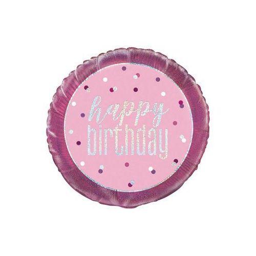 Unique Balon foliowy różowy happy birthday - 46 cm - 1 szt.