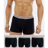 ASOS DESIGN trunks in black with striped waistband 3 pack multipack saving - Black, kolor czarny