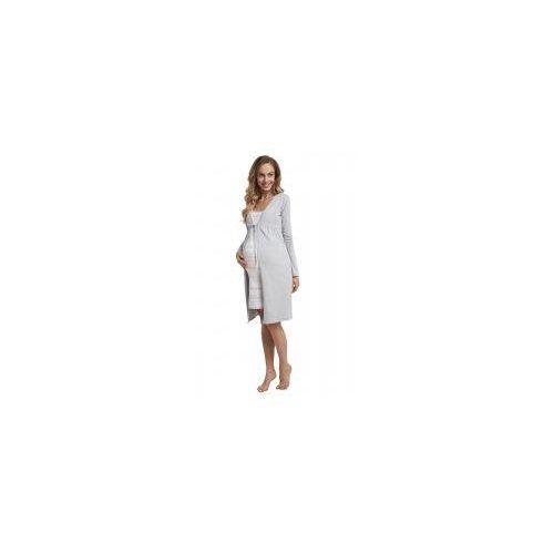 Szlafrok bawełniany ciążowy - szary (melanż) marki Dolce sonno
