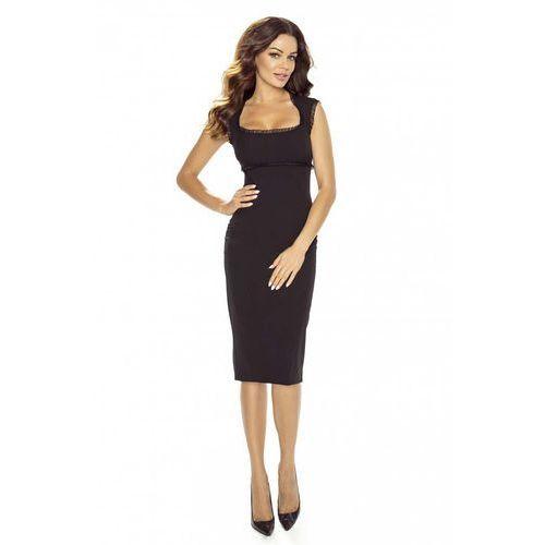 e73a1a0f72 Elegancka Czarna Sukienka Midi