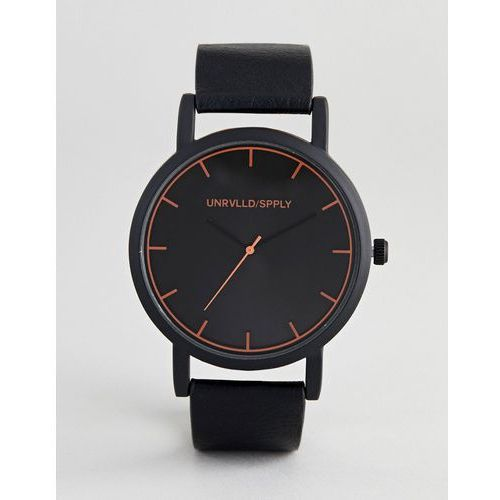 ASOS DESIGN monochrome watch in black with orange lens print highlights - Black