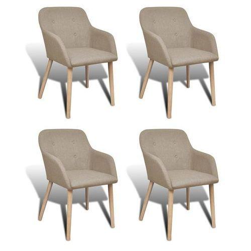 Krzesła do jadalni z dębową ramą, 4 szt., materiałowe, beżowe