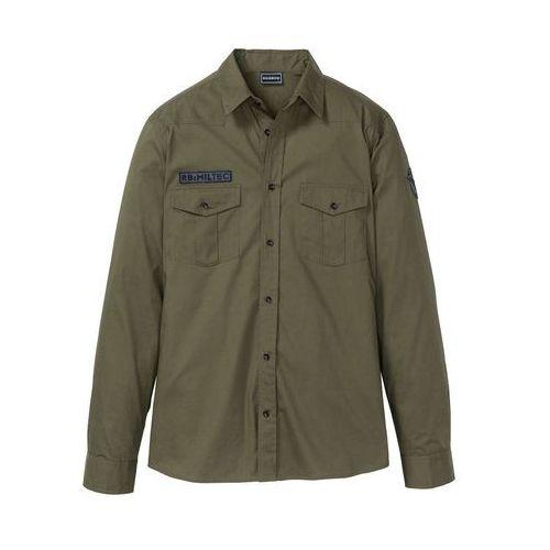 61ad862b39484e Koszula z długim rękawem i nadrukiem na plecach Slim Fit bonprix  ciemnooliwkowy, kolor zielony