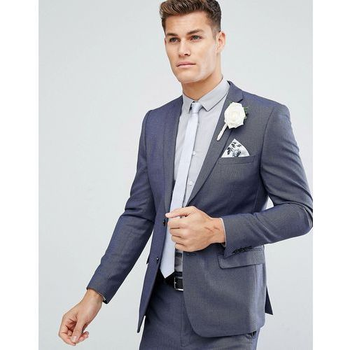 French connection skinny wedding suit jacket in birdseye - navy