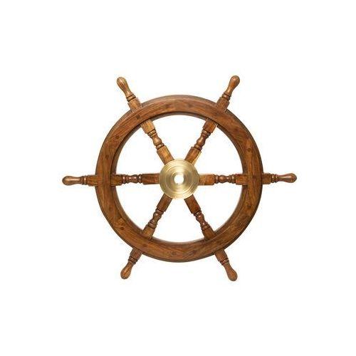 Nauticdecor Prawdziwe koło sterowe drewno i mosiądz 33 cm st 1