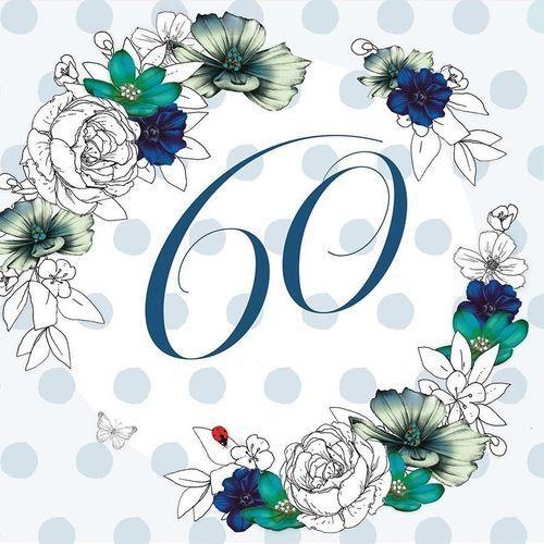 Karnet Swarovski kwadrat CL1460 Urodziny 60 kwiaty