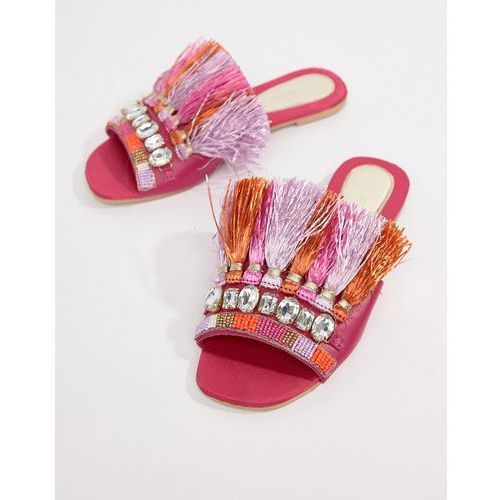 River Island sliders with front embellishment and tassel detail - Pink