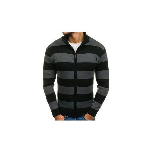 Sweter męski rozpinany czarno-grafitowy denley bm6066 marki S-west