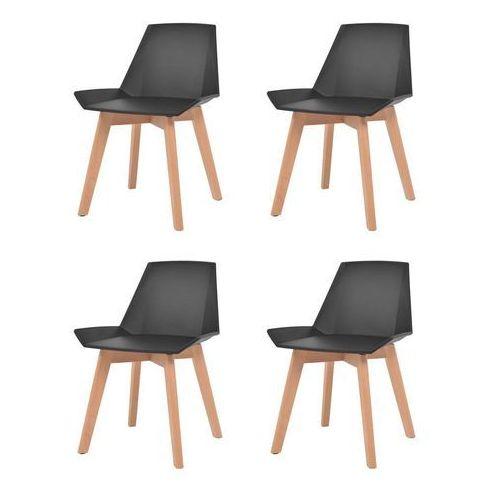 Vidaxl Komplet 4 krzeseł, drewniane nogi i czarne, plastikowe siedziska