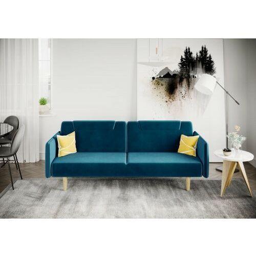 Sofa kanapa wersalka rovigo welur lazurowa rozkładana z funkcją spania dostawa 0zł marki Big meble