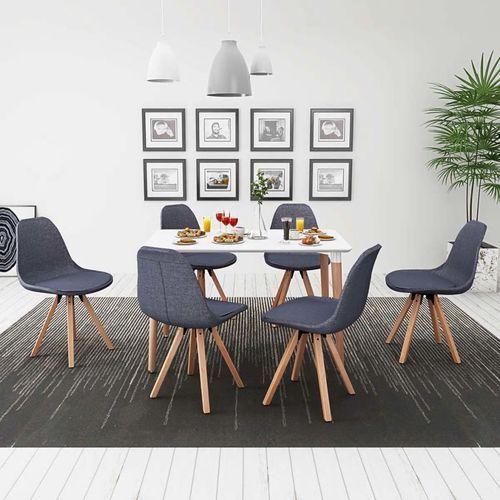 zestaw mebli do jadalni 7 elementów biały stół i ciemno szare krzesła marki Vidaxl