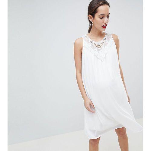 Mamalicous sleeveless lace insert woven dress - white, Mama.licious, 34-42
