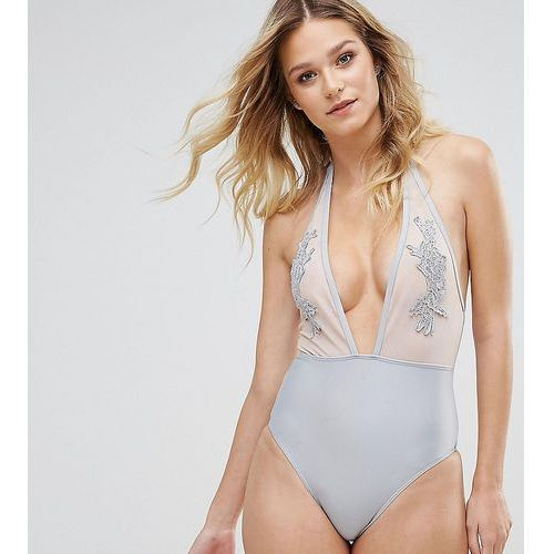 applique plunge swimsuit b-f cup - grey, Peek & beau