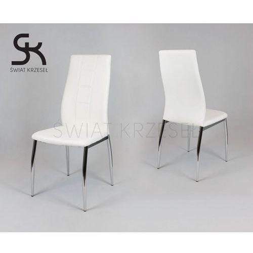 Sk design  ks026 białe krzesło z ekoskóry na chromowanym stelażu - biały