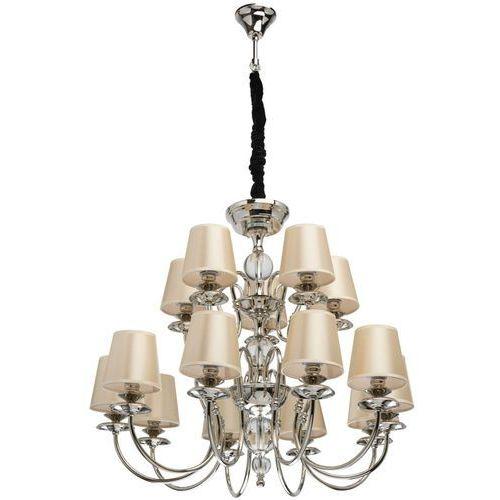 Niesamowity żyrandol na 15 żarówek - beżowe klosze elegance (355014015) marki Mw-light