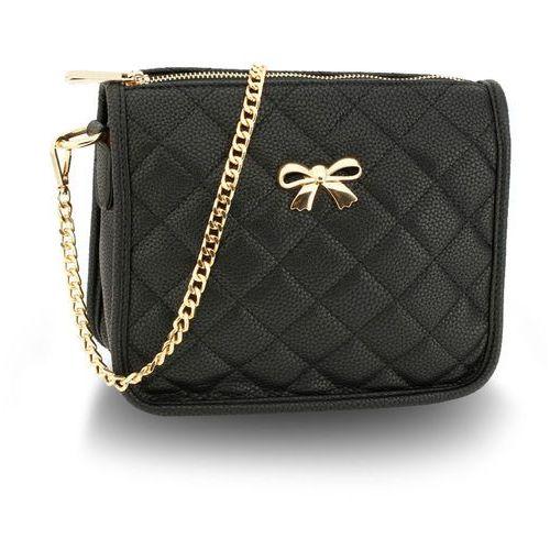 ed0d3e572fe3 Czarna pikowana torebka damska z łańcusz.