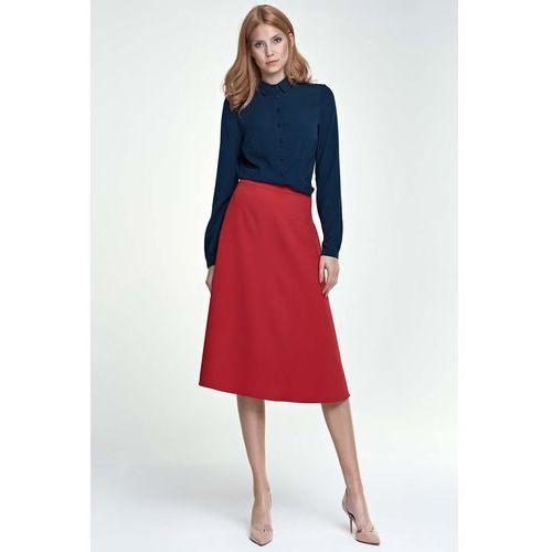 Czerwona Spódnica Trapezowa Midi, kolor czerwony
