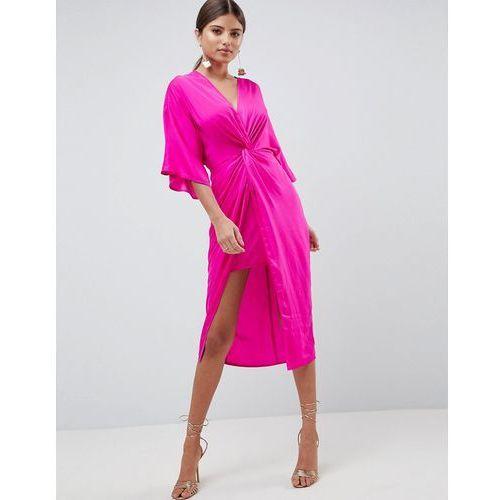 knot front kimono midi dress - pink, Asos design