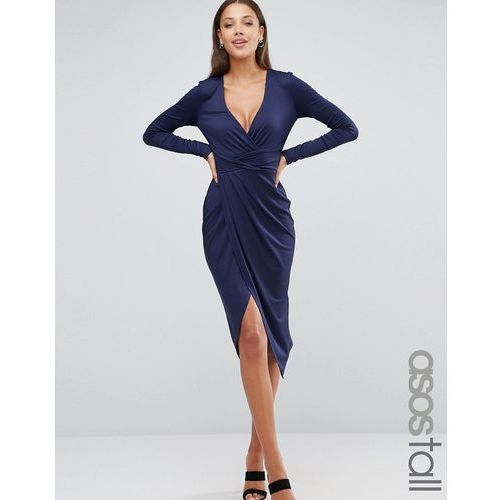 Asos tall  long sleeve wrap front midi dress - navy