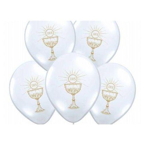 Balony z złotym nadrukiem IHS I Komunia Święta - białe - 37 cm - 50 szt.