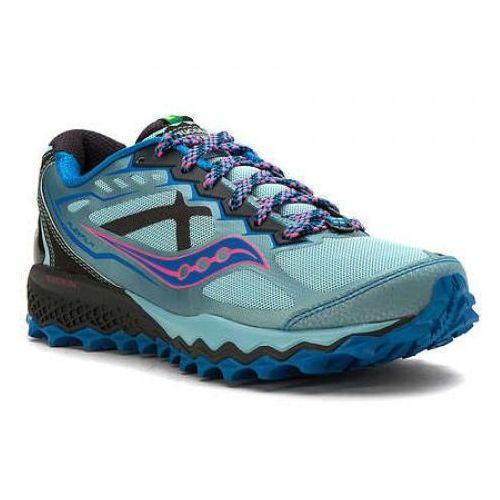 Saucony Peregrine 6 - damskie buty do biegania w terenie (niebieski), kolor zielony