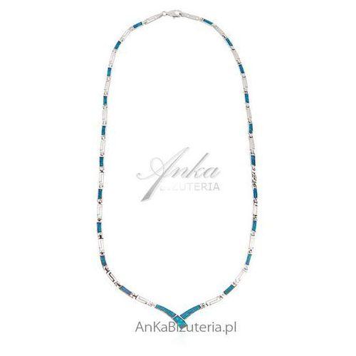 Anka biżuteria Naszyjnik srebrny z niebieskim opalem