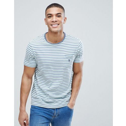 Polo ralph lauren stripe pocket t-shirt with polo player in green multi - multi
