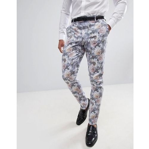 Boohooman wedding skinny fit suit trousers with floral print in multi - multi