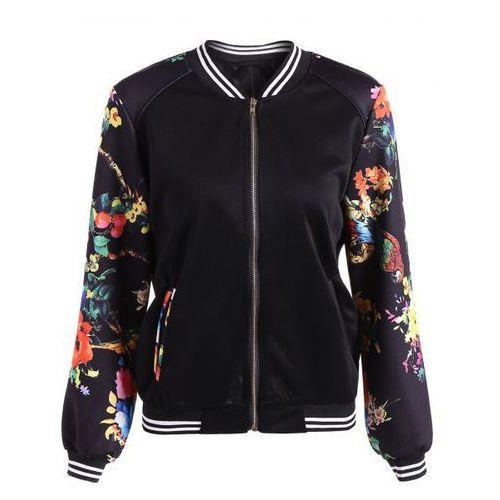 Slim Floral Bomber Jacket, kurtka damska Rosewholesale