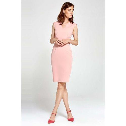 ff52cca6d7 Różowa Sukienka Ołówkowa bez Rękawów z Dekoltem V