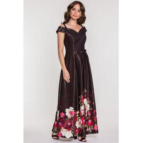94746c12a4 Czarna sukienka wieczorowa w kwiaty - Studio Mody Francoise