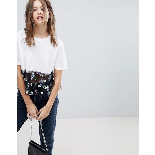 t-shirt with floral mesh - white, Prettylittlething