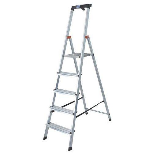 Drabina aluminiowa jednostronna 5 stopniowa safety 126337 wysokość robocza 3,05 m marki Krause