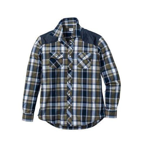 Koszula z długim rękawem regular fit zielony w kratę, Bonprix, L-XXL