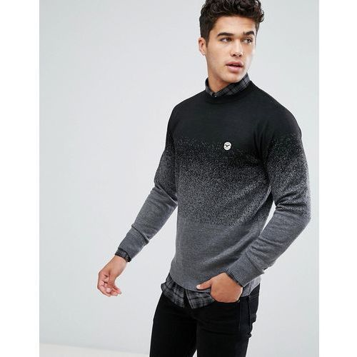 Le Breve Fleck Marl Fade Out Knitted Jumper - Black