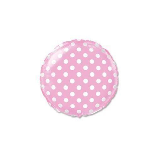 Balon foliowy okrągły różowy w kropki - 46 cm - 1 szt. (5901238629115)