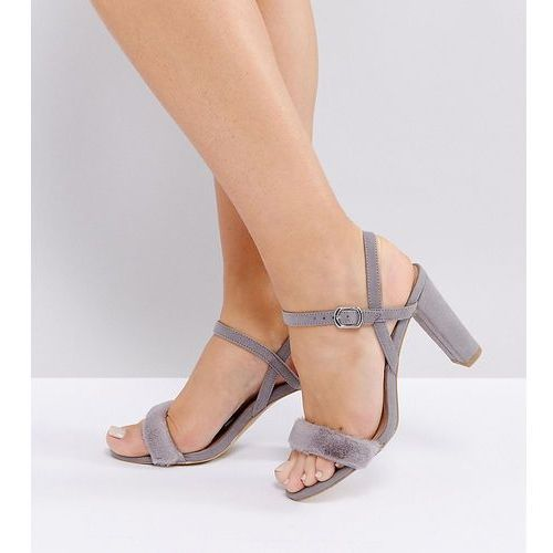 wide fit 2-part fluffy vamp heeled sandals - grey marki New look