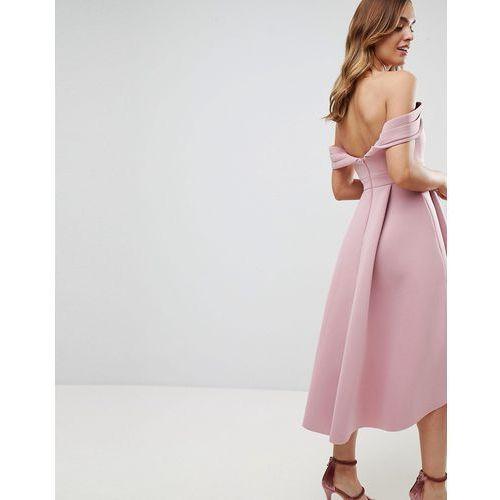 63f1d9db13 Suknie i sukienki · bardot cold shoulder dip back midi prom dress - pink  marki Asos
